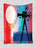 Ambesonne Cinema Tapestry, Colorful Projector Silhouette with Movie Reel Vintage Design Entertainment Theme, Wall Hanging for Bedroom Living Room Dorm, 40 W X 60 L inches, Multicolor