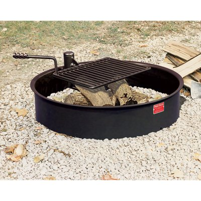 Steel Fire Ring with Cooking Grate - 32in. Outer Diameter, Model# FSW-30/7/TB