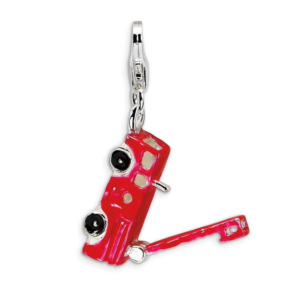 Jewelry Best Seller Sterling Silver Enamel Fire Truck w//Lobster Clasp Charm