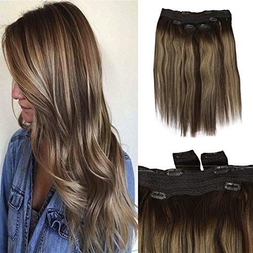 Full Shine Real Hair Balayage Halo Remy Human Hair Fish Wire On Hair Piece 14 Inch With Human Hair Remy Clip In Hair Extensions Ombre Honey Blonde And Brown Highlighted Hair Dye 100g 3 Pcs