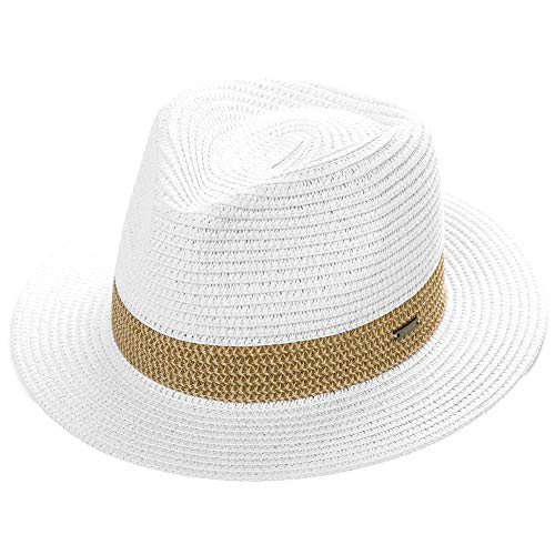 Women Packable Straw Fedora Panama Sun Summer Derby Hat Small Head for Men White 55-56cm -