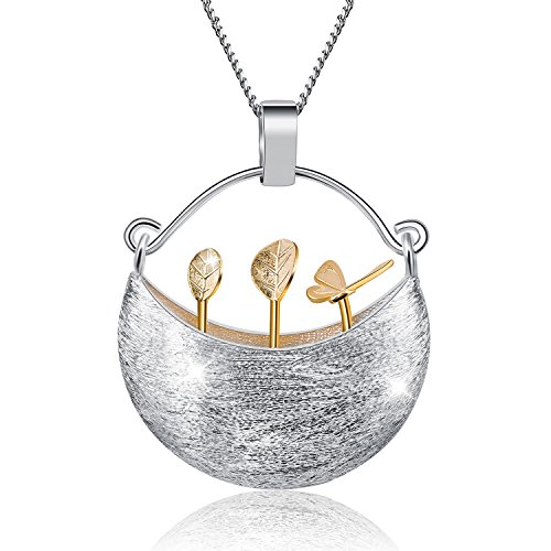 JIANGYUYAN S925 Sterling Silver Necklace Pendant Handmade Unique Jewelry for Women and Girls, My Little Garden Design Pendant with Necklaces Link Chain length 17inches,Gift Packed (Gold) ()