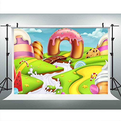 Cartoon Candyland Backdrops for Photography 9x6FT Fairy Tale Ice-Cream Chocolate Backgrounds Birthday Party Decoration Banner Photo Studio Props Kid Baby Girl LUCKSTY LUP351 ()