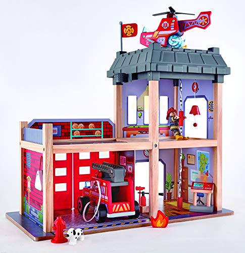 Playset Fire (Hape Fire Station Playset -Fire Truck and Helicopter-Dollhouse Playset)