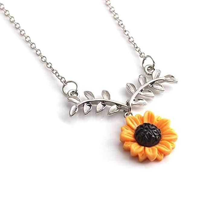 062256feb1194 Arichtop Lovely Adjustable Sunflower Pendant Women Necklace Girl ...