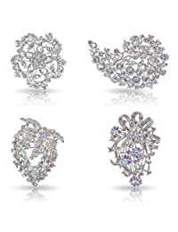 Bundle Monster 4pc Womens Clear Crystal Bezel Flower Fashion Brooch Mixed Set-3