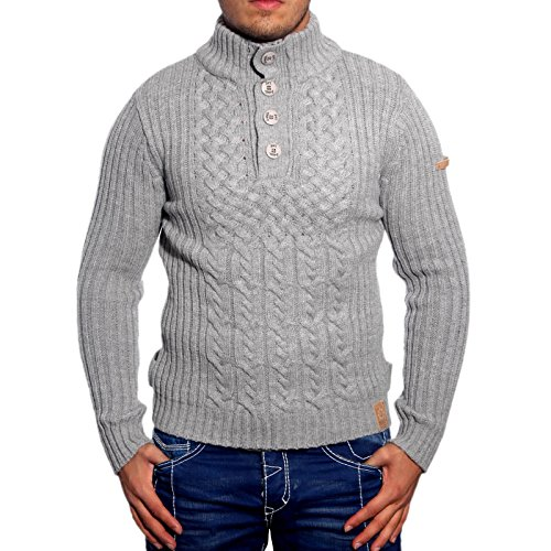 R-Neal 3161 Herren Pullover Grobstrick Polo Kragen Pulli Sweatshirt Jacke Hoodie, Größe:XL, Farbe:Grau