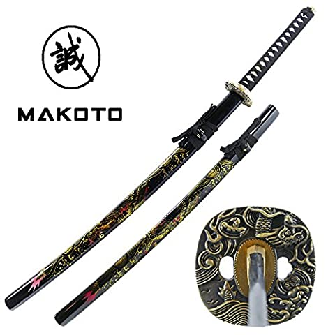 Makoto Hand Forged Razor Sharp Katana Sword with Hand Painted Scabbard (Golden Dragon)