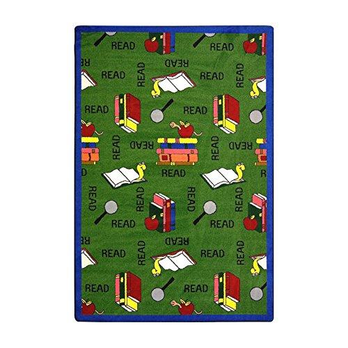 Joy Carpets Kid Essentials Language & Literacy Bookworm Rug, Green, 7'8'' x 10'9'' by Joy Carpets (Image #1)