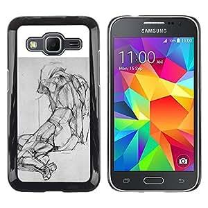 Paccase / SLIM PC / Aliminium Casa Carcasa Funda Case Cover - Drawing Pencil Body Image - Samsung Galaxy Core Prime SM-G360