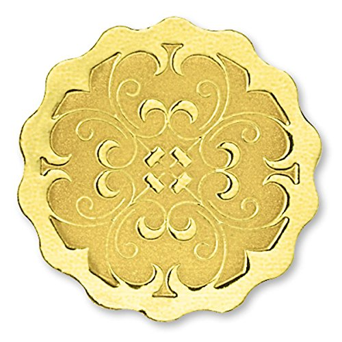 Scalloped Deluxe Embossed Gold Foil Certificate Seals, 1 3/8 Inch, Self Adhesive, 32 Count ()