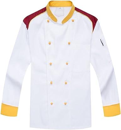 Camisa de Cocinero Cocina Uniforme Manga Larga Blanco: Amazon.es: Ropa y accesorios