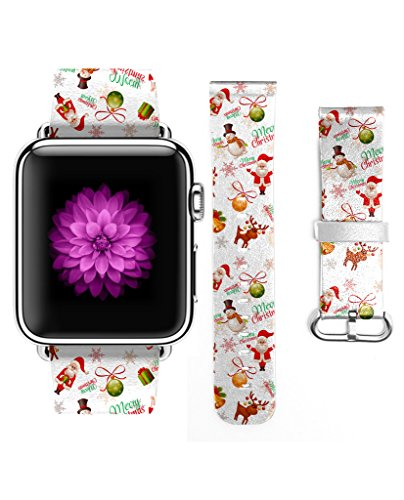 Apple Watch Band, Genuine Leather Strap Wrist Band for Apple Watch 38mm Cute Santa Claus and Snowman and (Fells Point Halloween)