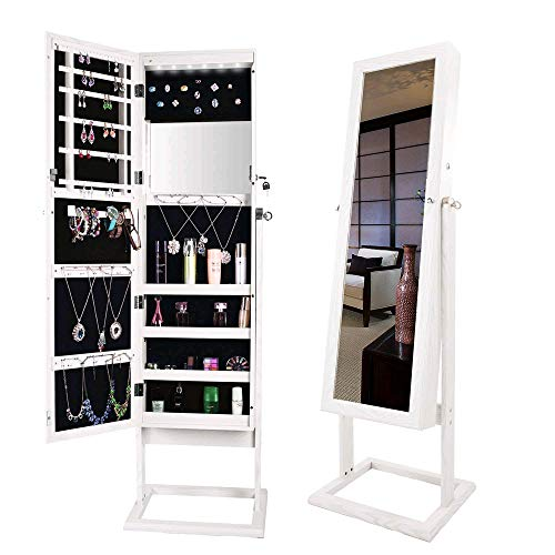 Bonnlo Jewelry Armoire Stable Square Stand with 6 LEDs with 4 Adjustable Angle Tilting, Well Packed by styrofoam & Stiffer Covering, Lockable Heavy Duty Bedroom Make up Mirror Cabinet Organizer Closet by Bonnlo (Image #6)