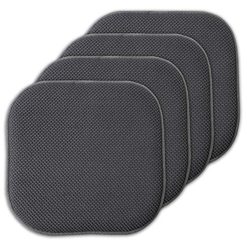 Sweet Home Collection 4 Pack Memory Foam Honeycomb Nonslip Back 16″ x16″ Chair/Seat Cushion Pad