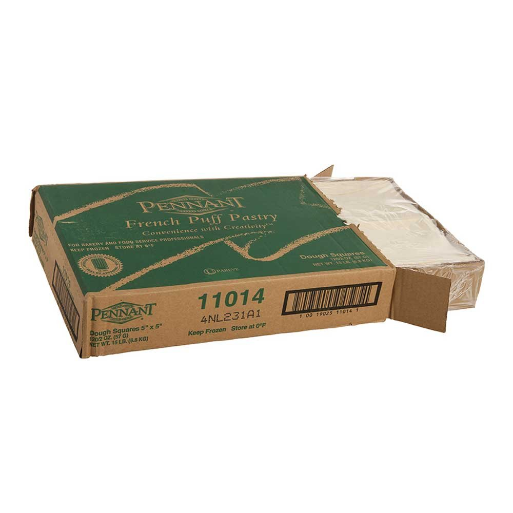 Pennant Foods Square Flat Puff Pastry Dough, 2 Ounce -- 120 per case.