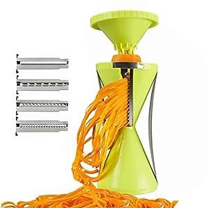 Spiral vegetable slicing and shredding machine