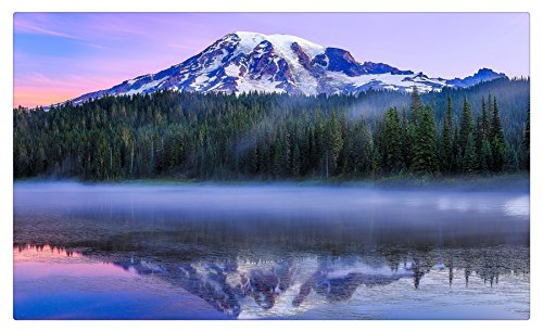 USA Lake Mountains Forests Scenery Washington Reflection Lake Mount Rainier Mount Rainier National Park Paradise Nature tourist souvenir Furniture & Decorations magnet fridge magnets