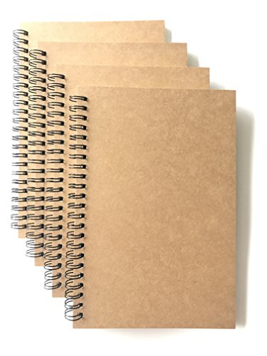 (VEEPPO A5 Wirebound Notebooks Bulk Journals Spiral Steno Pads Blank/Lined Kraft Brown Cardboard Cover Thick Cream Writing Pad Sketchbook Scrapbook Album (Lined White-Pack of 4))