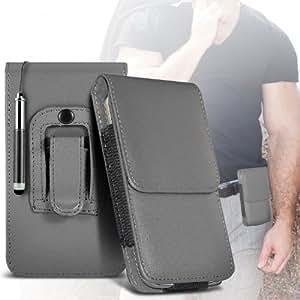Nokia Lumia 800 protección pu estuche de cuero de la correa de la pistolera del tirón del caso de la cubierta del sostenedor y del Mini Retractable Stylus Pen Grey por Spyrox