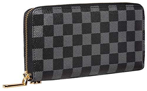 (Rita Messi Women's Checkered Zip Around Wallet and Phone Clutch RFID Blocking Card Holder Organizer (Catherine))