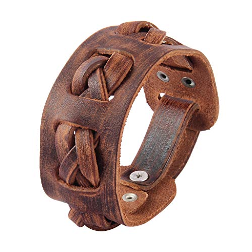 Jenia Rock Punk Leather Wrap Bracelet Gothic Cuff Bracelets Adjustable Leather Wristbands Bracelet for Men, Boy, -