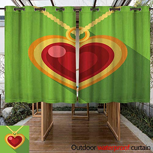 (Outdoor Ultraviolet Protective Curtains Heart Pendant Flat icon Illustration W108 x L72)