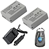 ValuePack (2 Count): Digital Replacement Digital Camera and Camcorder Battery PLUS Mini Battery Travel Charger for Canon NB-10L, PowerShot G15, G1X, SX50HS, SX40HS - Includes Lens Accessories Pouch