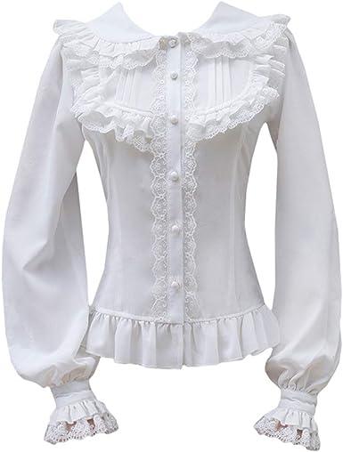 Rayas Blusa Victoriana Mujeres Gothic Lolita Collar de Pie Manga Larga Botones Encajes Camisa: Amazon.es: Ropa y accesorios