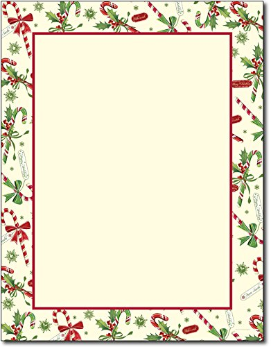 (Just Print! Candy Cane & Holly Letterhead, 80-pk)