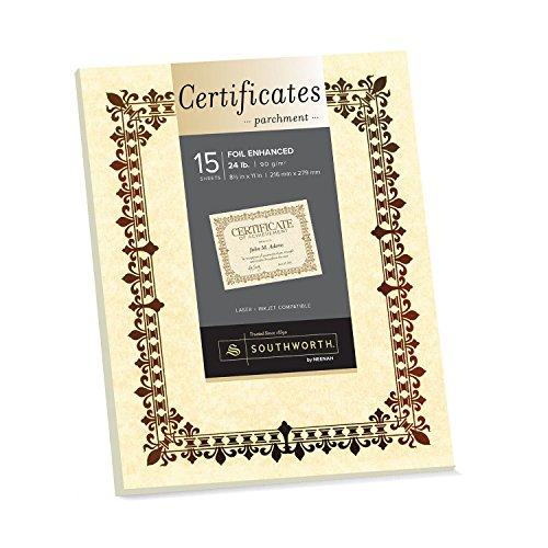 - Southworth Foil Enhanced Parchment Certificate, 8.5