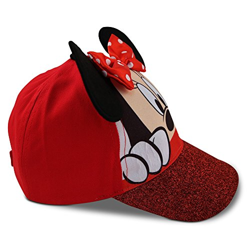 Disney Little Girls Minnie Mouse Character Cotton Baseball Cap, Age 2-7 (Little Girls - Age 4-7 - 53CM, Red) by Disney (Image #7)