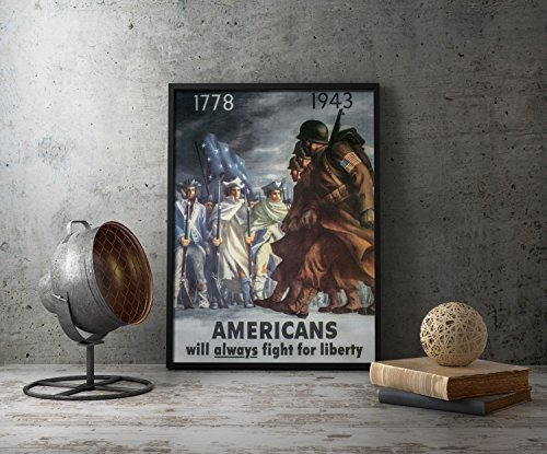 UpCrafts Studio Design WW2 Propaganda Poster by AMERICANS WILL ALWAYS FIGHT FOR LIBERTY - WWII US Propaganda Poster Reproduction (Replica) Military style wall art decor