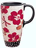 Best Gifted Living coffee mug - 17 oz. Floral Symphony Ceramic Latte Travel Cup Review