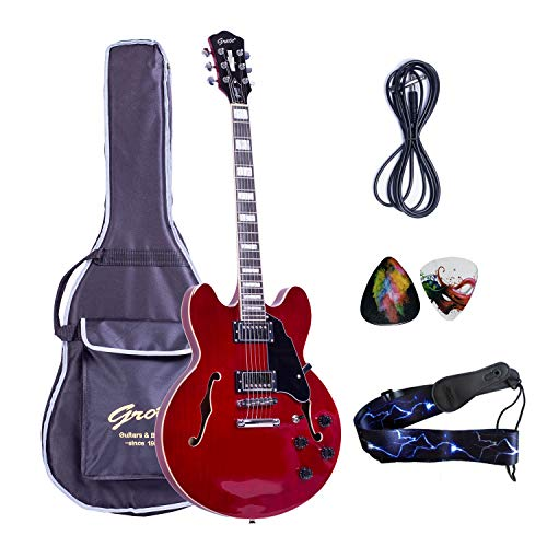 (2019 New Product GROTE BRAND Electric Guitar Semi Hollow Body with Guitar Gig Bag (Red) )