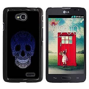 Paccase / SLIM PC / Aliminium Casa Carcasa Funda Case Cover para - Sugar Skull Blue Gradient - LG Optimus L70 / LS620 / D325 / MS323