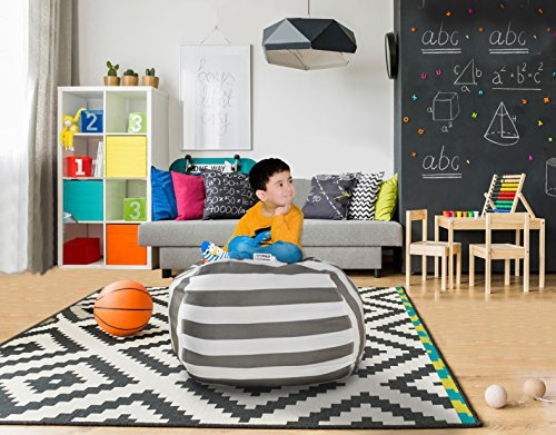 Hold The Door Extra Large Stuffed Animal Storage Bean Bag Chair - Toy Organizer & Comfy Chair - Perfect Storage Solution for Plush Toys, Blankets, Towels & Clothes - (Grey Striped, 38'') by Hold The Door (Image #7)
