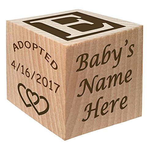 Adoption Gift - Personalized Wooden Block Child Keepsake Gift Custom Engraved