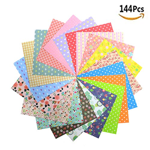Pattern Washi Paper - 144 Sheets Folding Origami Paper Washi Folding Paper for Arts and Crafts, 12 Different Colors and Patterns(6inch x 6inch)