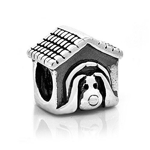 Everbling Pet Lover Dog Puppy Paw Dog House 925 Sterling Silver Charm Fits European Charm Bracelet (Dog House) (Sterling Silver Charm House)