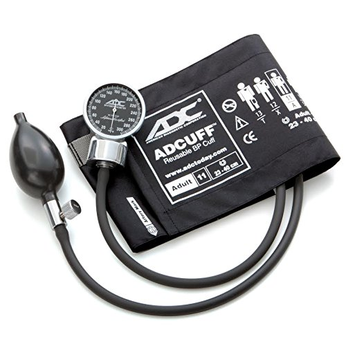 - ADC Diagnostix 700 Pocket Aneroid Sphygmomanometer with Adcuff Nylon Blood Pressure Cuff, Adult, Black