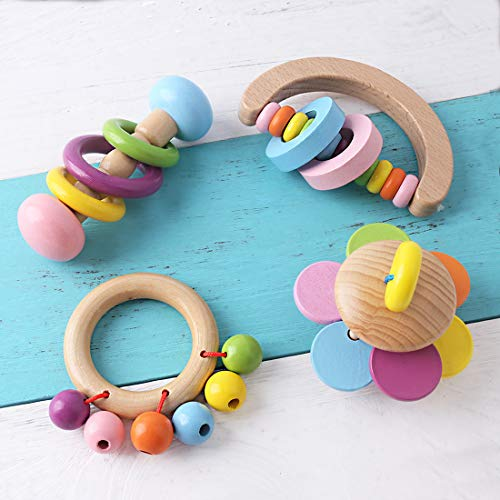 Organic Toddler Wooden Toys Wood Teether Rattles 4pc for Children Rainbow Bells Baby Ringer Montessori Educational Toy Non-Toxic Shower Gift