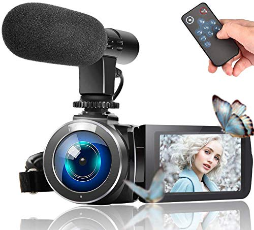 "Video Camera Camcorder, Vlogging Camera Full HD 1080P 30FPS 3"" LCD Touch Screen Vlog Video Camera for YouTube Videos with External Microphone and Remote Control"