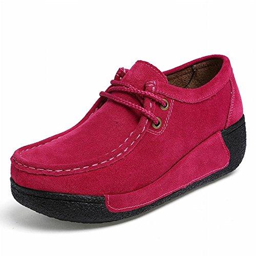 Zapatos de Encaje Zapatos Casuales Ronda Sacudiendo Zapatos Zapatos Pantalones Base Gruesa Pendiente con Mis Zapatos de Madre , Rosa roja , EUR38