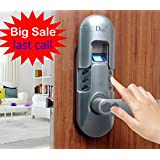 Assa Abloy Digi Weatherproof Electronic Fingerprint Door Lock for Home and Office Use with Keypad 6600-98 (Satin Chrome) Right Lever Handle