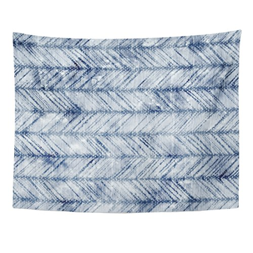 TOMPOP Tapestry Blue Pattern Abstract Washed Indigo Dyed Mottled Herringbone Navy Home Decor Wall Hanging for Living Room Bedroom Dorm 60x80 Inches