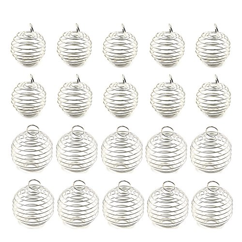 Jiabetterniu 40 Pcs Iron Spiral Bead Cages Wrap-around Round Bead Cage Box Holder for Pendants Jewelry Making Findings Accessories,2 ()