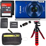 Canon PowerShot ELPH 190 Digital Camera 10x Optical Zoom IS Wi-Fi NFC Enabled (Blue), SanDisk Ultra 16GB, Camera Case and Premium Accessory Bundle
