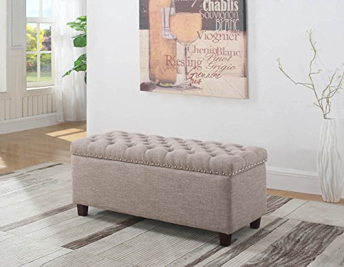 NHI Express 91018-63TP Buttontufted Storage Ottoman, 42 W x 17.5 D x 18.5 H, Taupe