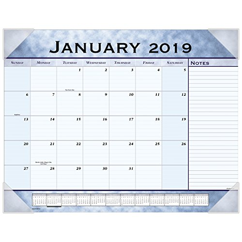 Calendar Blue Pad Desk Slate - AT-A-GLANCE 2019 Desk Calendar, Desk Pad, 21-3/4
